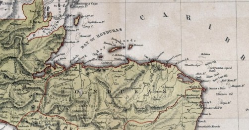 Old map of  Central America, 1870, Honduras, Nicaragua, Costa Rica