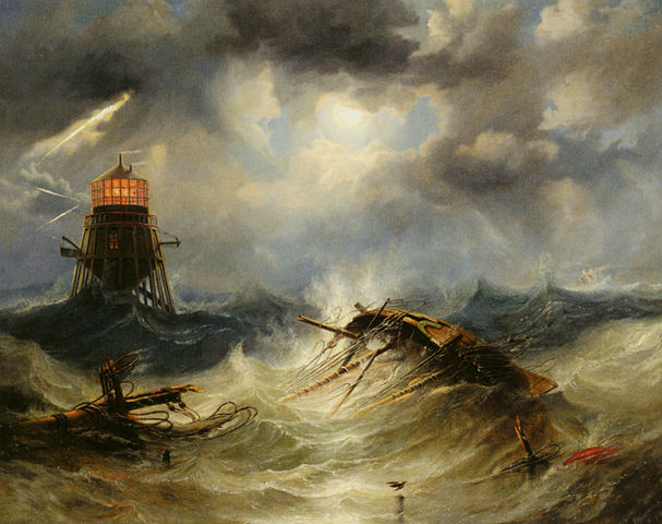 The_Irwin_Lighthouse_Storm_Raging_by_John_Wilson_Carmichael
